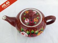 Teapot - Brown - hand-painted with traditional canal rose designs.