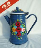 Coffee Pot - Blue - hand-painted with traditional canal rose designs.
