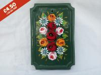 Rectangular Pottery Wall Plaque, green background,  hand-painted with traditional canal rose design.
