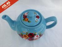 Teapot - Blue - hand-painted with traditional canal rose designs.