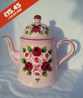 Teapot - Pink - hand-painted with traditional canal rose designs.