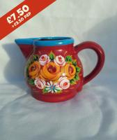 Milk Jug - hand-painted with traditional canal rose designs.